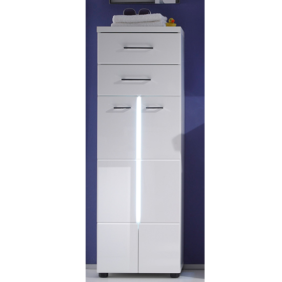 Narto LED Floor Bathroom Storage Cabinet In White High Gloss