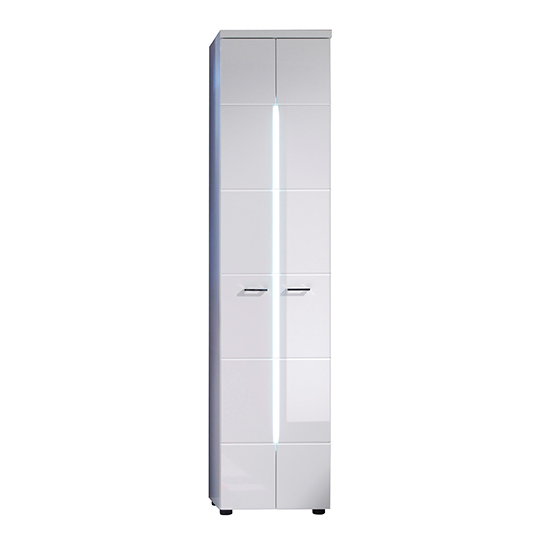 Narto LED Tall Bathroom Storage Cabinet In White High Gloss_2