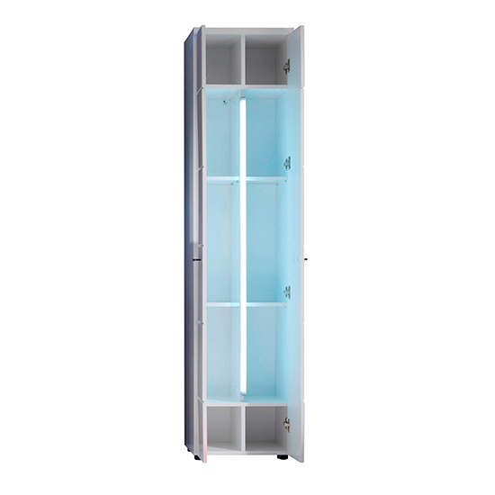 Narto LED Tall Bathroom Storage Cabinet In White High Gloss_3