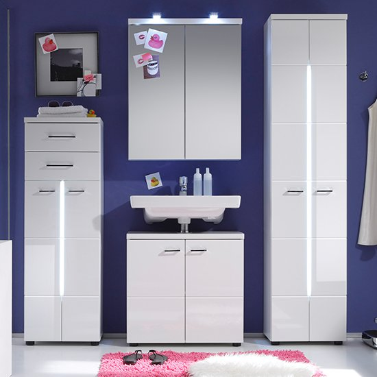 Narto LED Tall Bathroom Storage Cabinet In White High Gloss_4