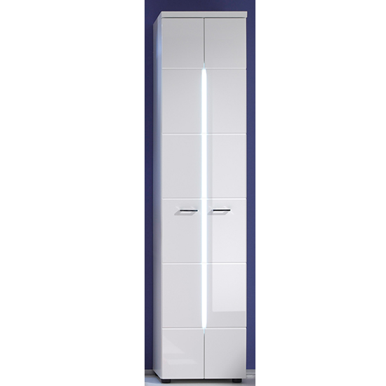 Narto LED Tall Bathroom Storage Cabinet In White High Gloss_1