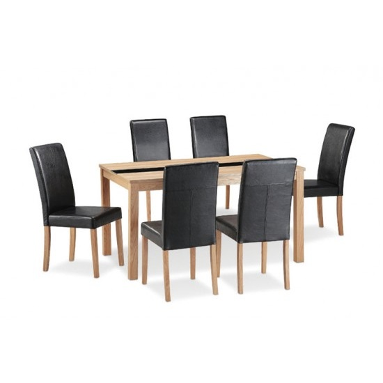 Narvik 6 Seater Dining Set In Real Ash Veneer And Black Glass