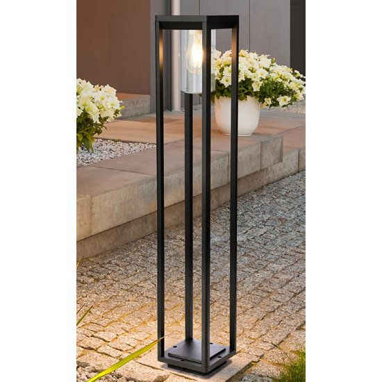 Nash Outdoor Garden Tall Post Light In Black With Clear Glass