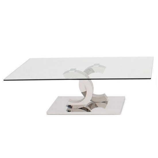Natalie Glass Coffee Table In Clear With Polished Steel Base