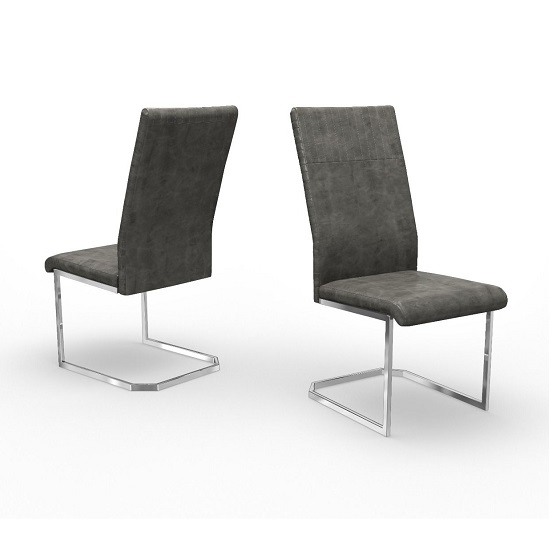 Nati Faux Leather Dining Chair In Antique Grey In A Pair_1