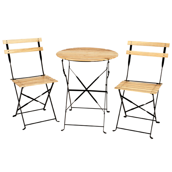 babsi folding bistro set in natural wood 15712 furniture in. Black Bedroom Furniture Sets. Home Design Ideas