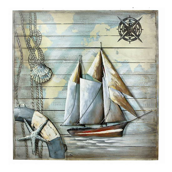Nautical Adventure Picture Metal Wall Art In Multicolor