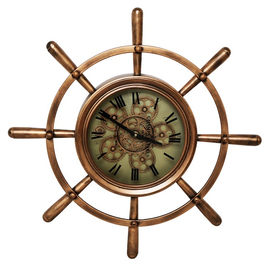 Nautical Wheel Shaped Wall Clock In Brown And Bronze Finish