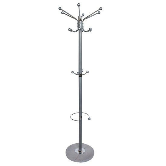 Naxis Metal Coat And Hat Stand In Silver With Marble Base