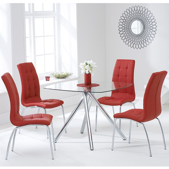 Naxis Square Glass Dining Table With 4 Gala Red Dining Chairs_1