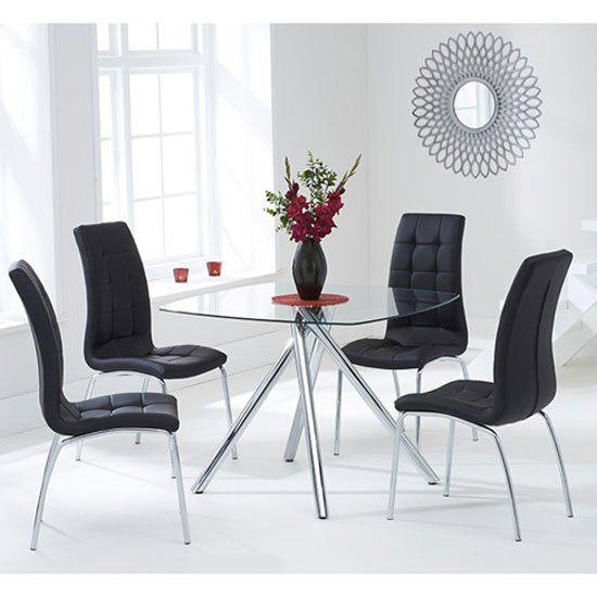 Naxis Square Glass Dining Table With 4 Gala Black Dining Chairs