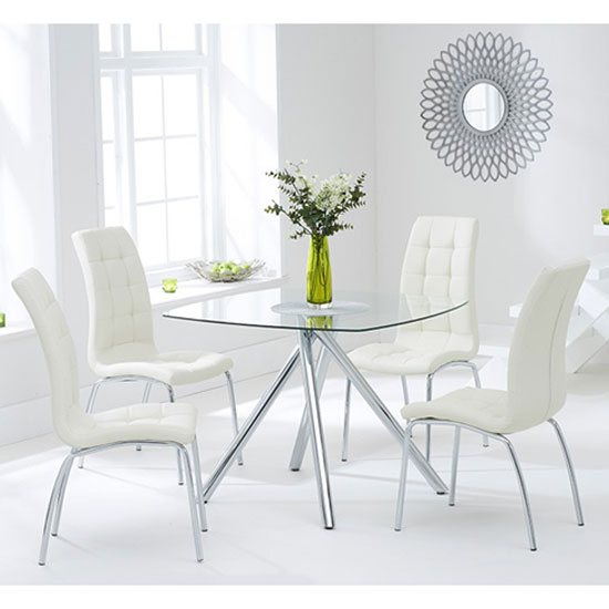 Naxis Square Glass Dining Table With 4 Gala Cream Dining Chairs_1