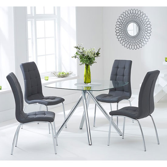 Naxis Square Glass Dining Table With 4 Gala Grey Dining Chairs_1