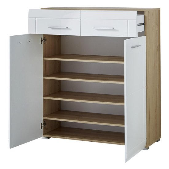 Neapel Shoe Storage Cabinet In Noble Beech High Gloss And White_2