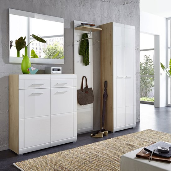 Neapel Shoe Storage Cabinet In Noble Beech High Gloss And White_3