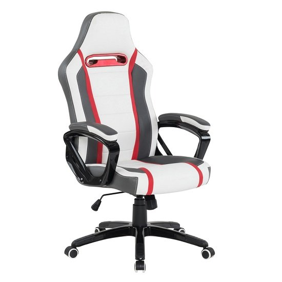 Neasa White PU Gaming Office Chair With Grey And Red Finish