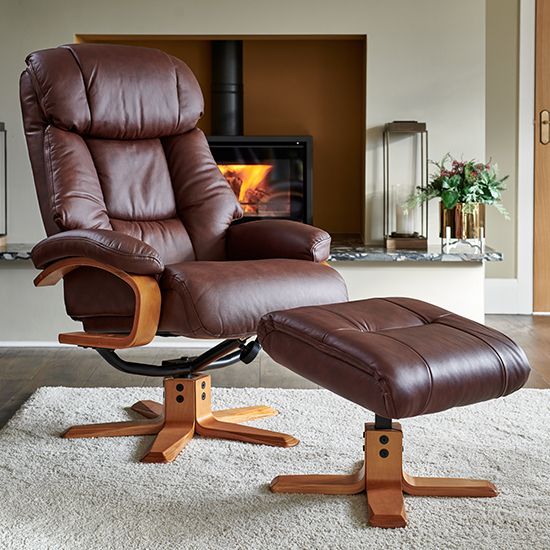 Neasden Leather Match Swivel Recliner Chair In Chestnut