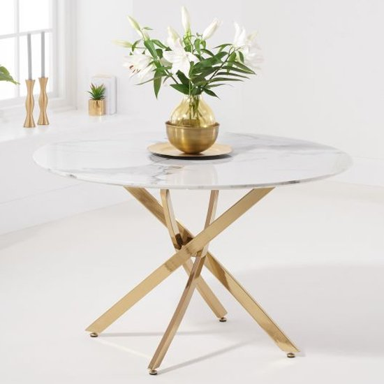 Neutral White Marble Effect Round Dining Table With Gold Legs