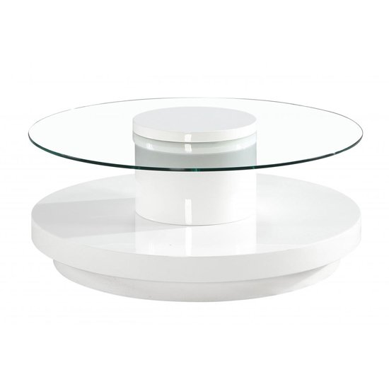 Nebula Round Glass Coffee Table With White High Gloss Base