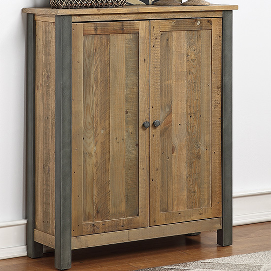 View Nebura large wooden shoe storage cabinet in reclaimed wood