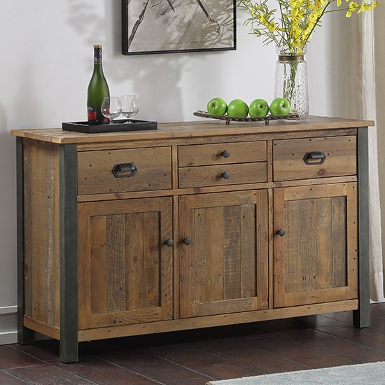 Nebura Sideboard In Reclaimed Wood With 3 Doors And 4 Drawers