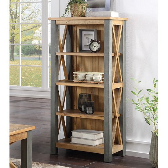 Nebura Small Wooden Bookcase In Reclaimed Wood