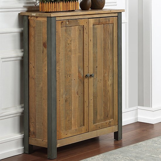 Nebura Small Wooden Shoe Storage Cabinet In Reclaimed Wood