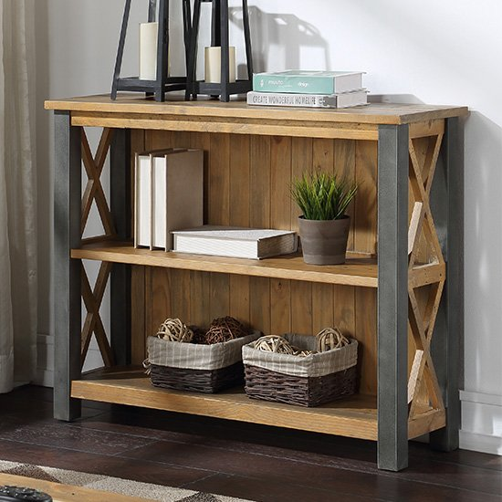 View Nebura wooden low bookcase in reclaimed wood