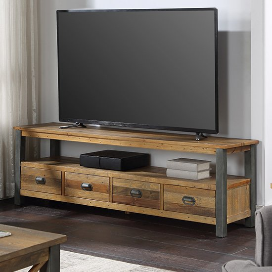 Nebura Wooden TV Stand In Reclaimed Wood With 4 Drawers