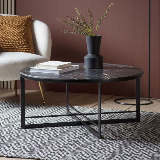 View Necta round marble top coffee table in black