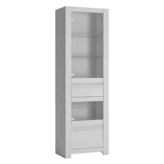 Neka Tall 2 Drawers Display Cabinet In Alpine White
