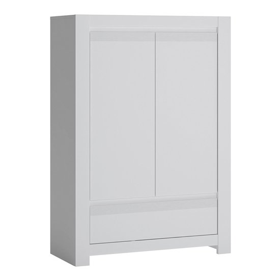 Neka Wooden 2 Doors 1 Drawer Storage Cabinet In Alpine White