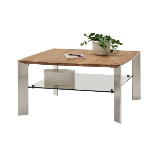 Nelia Wooden Coffee Table In Knotty Oak With Glass Shelf