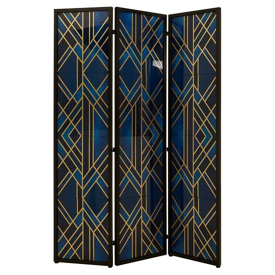 Kitalpha Wooden Folding Patterned Blue And Gold Room Divider   _1