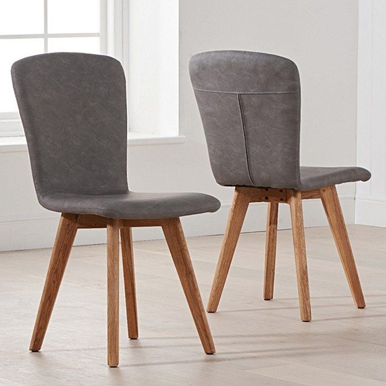 Nembus Grey Faux Leather Dining Chairs In Pair