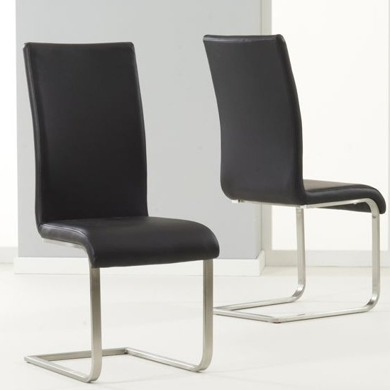 Nenque Black PU Leather Dining Chairs In Pair