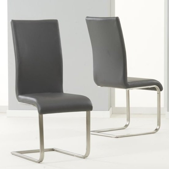 Nenque Grey PU Leather Dining Chairs In Pair