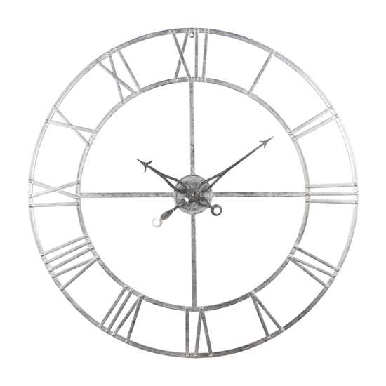 Neoga Large Foil Skeleton Metal Wall Clock In Silver