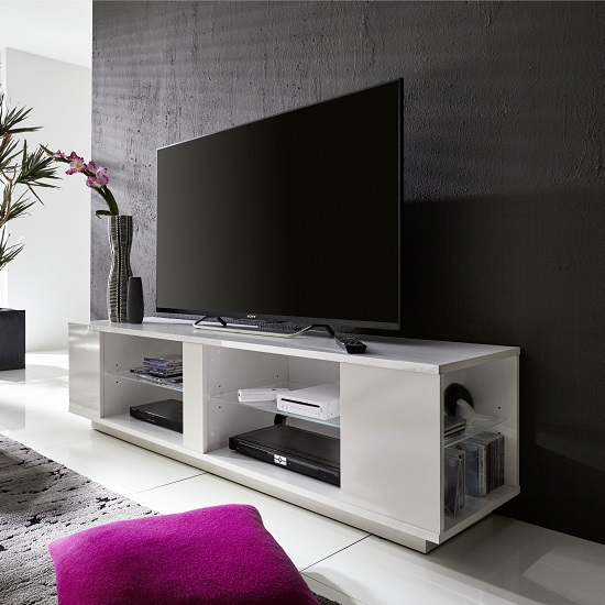 Neomi LCD TV Stand In White Gloss Fronts With LED Lighting_6