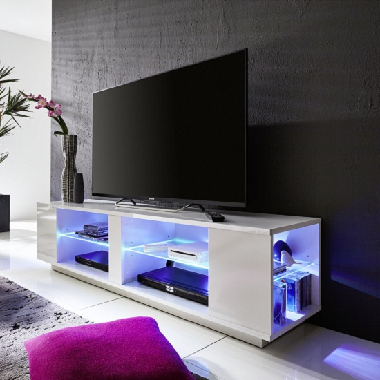 Neomi LCD TV Stand In White Gloss Fronts With LED Lighting_5