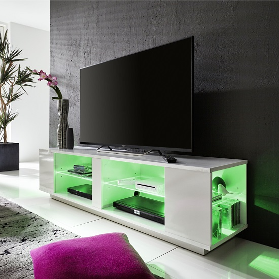 Neomi LCD TV Stand In White Gloss Fronts With LED Lighting_4