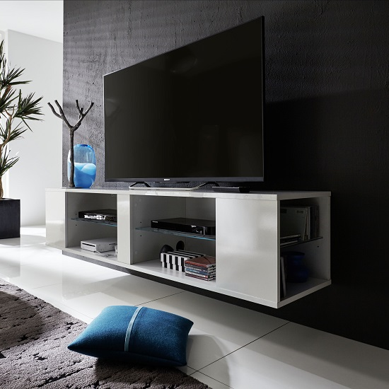 Neomi LCD TV Stand In White Gloss Fronts With LED Lighting_9