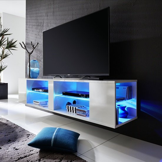 Neomi LCD TV Stand In White Gloss Fronts With LED Lighting_7