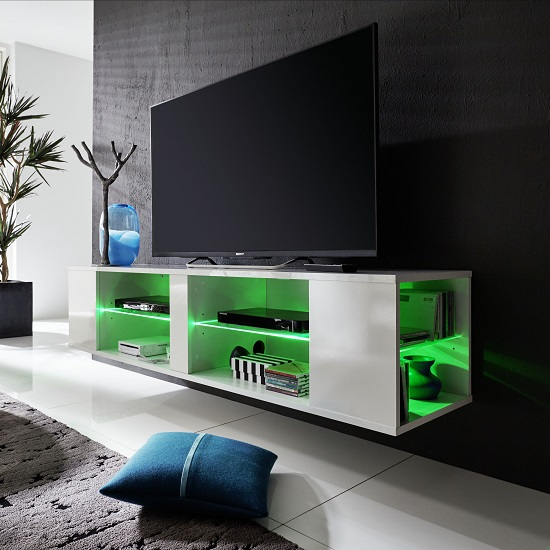 Neomi LCD TV Stand In White Gloss Fronts With LED Lighting_8