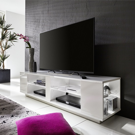 Neomi LCD TV Stand In White Gloss Fronts With LED Lighting_2