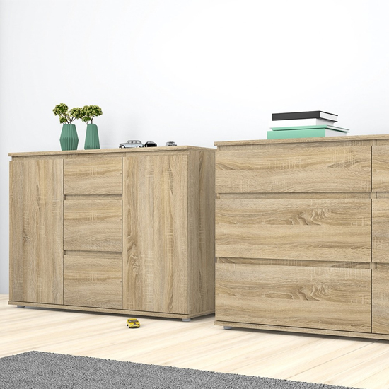 Naira Wooden Sideboard In Oak With 2 Doors 3 Drawers_3