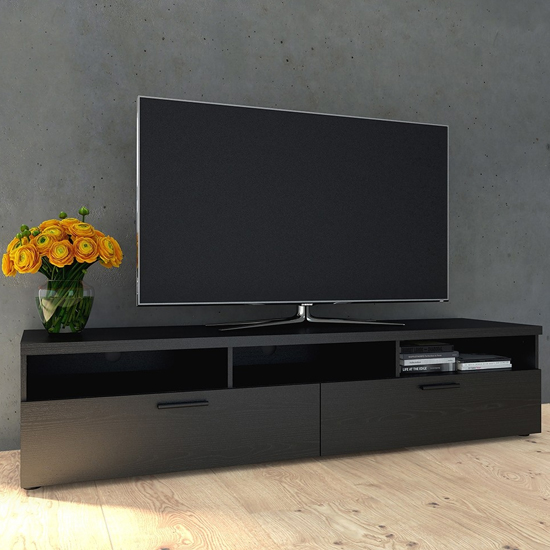 Napolia Wooden 2 Drawers 3 Shelves TV Stand In Black Woodgrain
