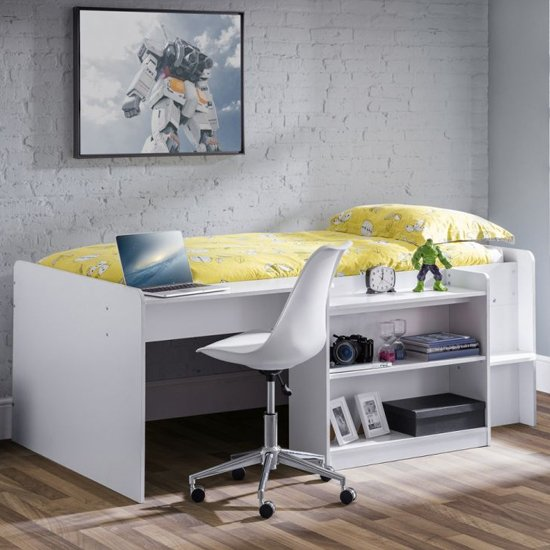 Neptune Midsleeper Bunk Bed With Computer Desk In White
