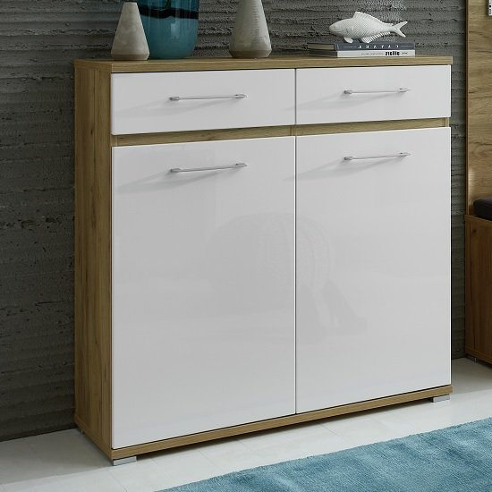 Napoli Shoe Cabinet In Navarra Oak And White High Gloss