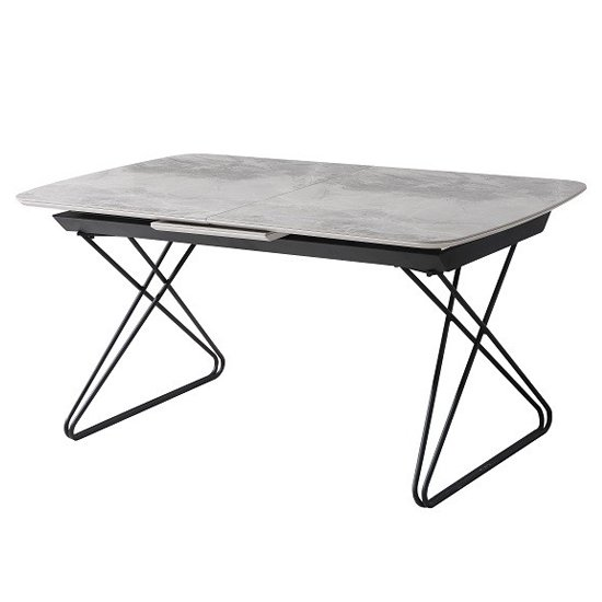 Nero Extending Wooden Ceramic Effect Dining Table In Grey